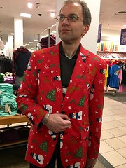 Christmas Jacket (john.watne) Tags: portrait bmw328driver yourstruly tacky suitcoat jacket christmas clearance silliness red snowmen christmastrees store goofingoff posing