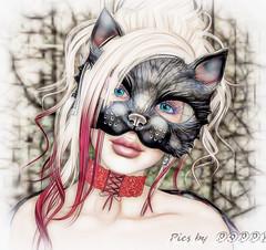 Masquerade - Getting Ready-8 (Poppys_Second_Life) Tags: popi popikone popikonesadventuresin2l popisadventuresin2l 2l secondlife virtualphotography poppy picsbyⓟⓞⓟⓟⓨ sl mask cat feline masquerade masqueradeball