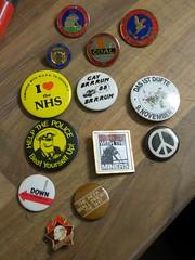 Vintage Badges (the justified sinner) Tags: justifiedsinner panasonic 17 20mm gx7 birmingham westmidlands political 1980s badges minersstrike kevingray silversmith