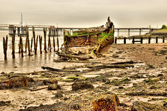 Hans Egede at low tide (Geoff Henson) Tags: wreck boat shore thames river cliffe nikond5500 sigma1770mm mud water beach