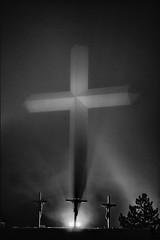 The Cross of Our Lord Jesus Christ (Mitch Tillison Photography) Tags: black white mono monochrome easter sunday crucifixion jesus christ cross nighttime lowlight high iso 3200 nikon d5 challenging lighting contrast groom texas crossofourlordjesuschrist i40 roadside attraction religion christian mitchtillison photo photography handheld tamron70200