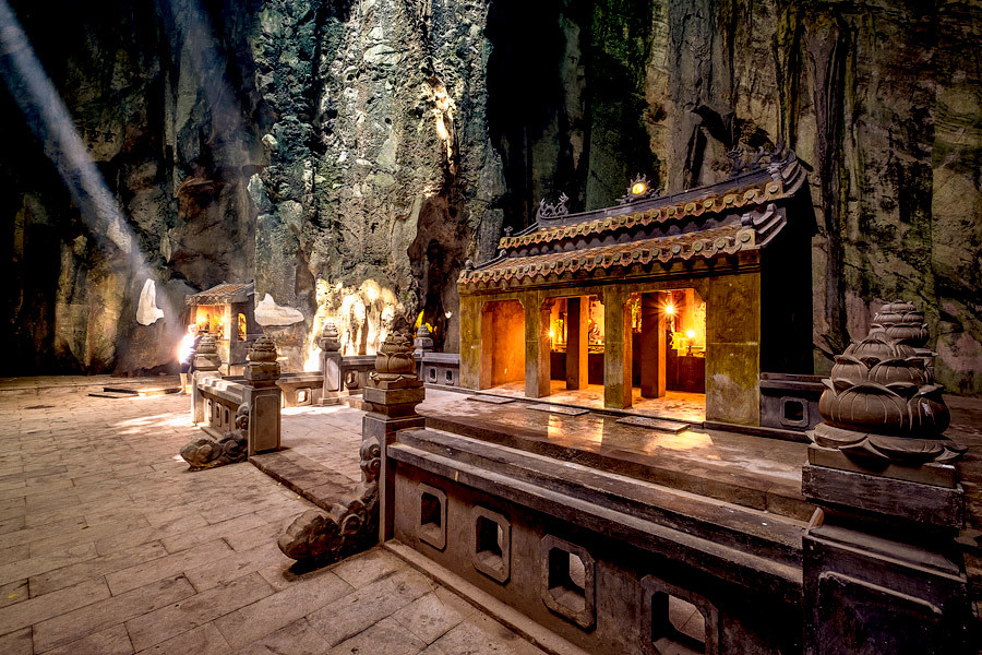 Sacred Buddhist altar in the main cave of Marble Mountains