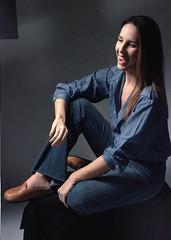 Tiffani Blue 3 (neohypofilms) Tags: portrait series blue bleu denim style fashion retro vintage jeans hair long shoes clogs mules slippers 70s 60s hippie color colour 35mm film slr nikon f studio model classic pinup