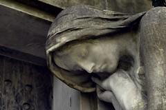 at the death's door (JoannaRB2009) Tags: marble figure woman symbol symbolism grave tomb door graveyard cemetery theoldcemeteryinłódź starycmentarzwłodzi łódź lodz polska poland city architecture art