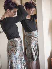 Almost Ready (Pennant) Tags: skirt pearls satin hair hosiery