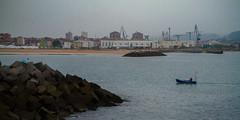 the morning boat (hybbgo) Tags: city travel espana spain gijon ocean sea cantabria cantabriansea boat boatman