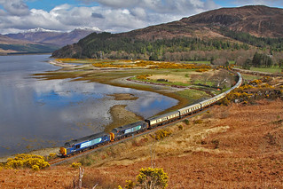 37259+37605 on the 1Z40 Inverness to Kyle of Lochalsh at Loch Carron, Attadale on the 16th April 2016