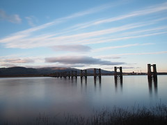 Alloa railway bridge(big stopper) (alanGmedia) Tags: scotland scenery landscape forth river sunset bridge railway alloa