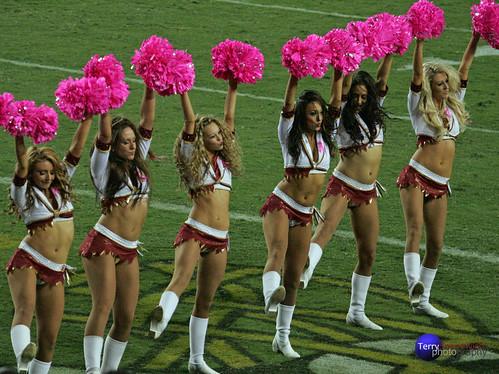 Redskinette Cheerleaders in a row.