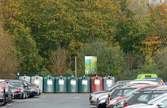 Recycling containers (karenblakeman) Tags: uk car reading october container gb recycling carpark berkshire caversham 2014 hillsmeadow cf14 challengefriday