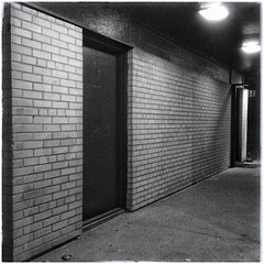 Skinny-Dipping At Night (William Shropshire) Tags: bw copyright white toronto ontario canada black brick apple composition square photography blackwhite flickr shropshire creative william minimal mortar photographs minimalism app allrightsreserved 4s passageway iphone 2014  snapseed