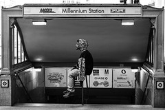Time Traveler (R o s e n d o) Tags: trip bw chicago man station stairs eyes waiting closed stage entrance millenium smoking jacket rest handrail metra entry cigarrete urbanstage citystage