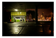 October Night (Barnaby Nutt) Tags: abandoned car station one hand unitedkingdom leicester wash gasoline ruscha everywhere nightleicester
