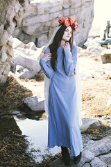 (painted in flames) Tags: blue roses religious rocks veil dress mary mother icon boulders figure crown megansimonson