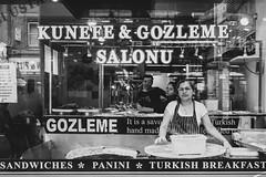Kunefe & Gozleme Salonu (Daniele Zanni) Tags: uk bw london restaurant google flickr candid streetphotography shopwindow turkish greenlanes facebook squarespace 500px iceboxcool x100s