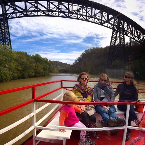 Birthday Beatitudes: Bundled up Belles under bridges, on boats. #lucyBday #dixiebelle #kyriver #highbridge