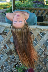 Upside Down (PhotoAmateur1) Tags: park flowers blue autumn trees portrait woman brown green fall feet beautiful beauty smile face smiling shirt female standing hair neck outside outdoors photography sweater model eyes woods shoes long sitting photoshoot arms legs boots head top background gorgeous lips jeans denim tall brunette lovely thin shoulder photosession october42014