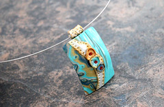IMG_5771 (earthexpressions) Tags: blue art hand teal cyan tiffany pendant sculpted polymerclayjewelry
