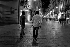 walk (shahzebali) Tags: blackandwhite italy night photoshop torino nikon bandw d3200 denoise topazlabs