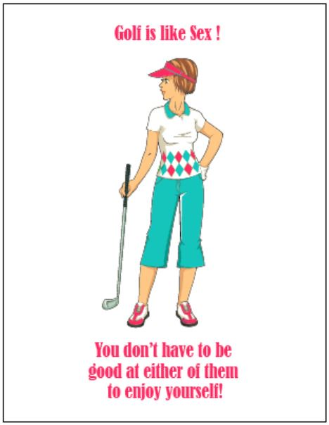 Funny Golf Sayings CoutureBeachInvitations Tags Birthday Christmas Ladies Girl Female Illustration Cards