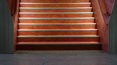 Bright Staircase (Theen ... busy) Tags: light orange lines metal horizontal shadows bright library samsung adelaide handrail he studs edges burnished hindleystreet universityofsouthaustralia theen