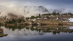 Fall at Pass Lake. (Brock Whittaker Photography) Tags: snow cold reflection fall fog clouds dead nikon colorado cloudy snowy kitlens frisco lovelandpass summitcounty waterreflection abasin d5100 nikond5100 brockwhittaker brockwhittakerphotography