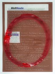 """an apple a day keeps the doctor away - An ENSO (Japanese: circle, kreis) a Day ..."" 15. October 2014: Kick on my Shin - Circle Red: Aggression - Ein Tritt ins Schienbein - Kreis: rot, männliche Farbe, Aggression, Mars, Kriegsbringer, Granate, Granatapfel"