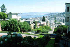 "Looking down Lombard to Yerba Buena Island • <a style=""font-size:0.8em;"" href=""http://www.flickr.com/photos/34843984@N07/15543733151/"" target=""_blank"">View on Flickr</a>"