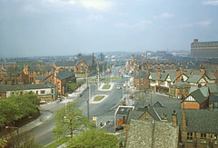 Walkden town centre, view west inc Ellesmere Colliery 1957 (Pitheadgear) Tags: walkden salford a6 greatermanchester lancashire ellesmerecolliery coal mine mining pit mines bridgewatercollieries ncb nationalcoalboard