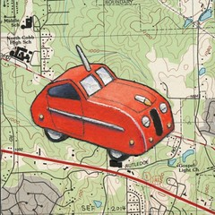 Toy Red Coupe (steveartist) Tags: art cars collage watercolor maps artworks 2014 smallworks stevefrenkel whimsicalcars redtoycars artartworkswatercolorscollagecarswhimsicalcarsmapssmallworksredtoycoupe2014stevefrenkel