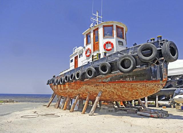 Macedonia, boat awaiting repair at Nea Potidea, Kassandra, Chalkidiki, Greece #Μacedonia
