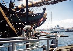 The Old and the Older (PhillMono) Tags: ocean cruise phoenix dutch museum boat reisen sailing ship harbour australian vessel replica national maritime bow batavia darling albatros liner voc bowsprit barangaroo