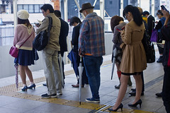 Japanese people wait for train in row at Yokohama Station. (DigiPub) Tags: yokohama railwaystation 電車 jr 横浜 湘南新宿線 m20150112 ma20150116 gettyimages 533971275 onsale editorial japanese information device sold sale201706 tbs