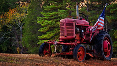 RETIRED TRACTOR FLAGHOLDER (Wolf Creek Carl) Tags: flag lawnornament tractors retired antique georgia landscape outside trees autumn patriotic