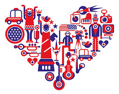 Love America (danjazzia) Tags: vector image illustration red blue white parade flower abstract statueofliberty music guitar art unitedstatesofamerica unitedstates usa americanflag heart travel tour tourism piano decoration trumpet sax saxophone whitebackground holiday festive festivity festival starsandstripes taxi camera movie cinema computer party cocktail jazz bird love icon