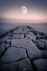 Rise Above (Alex Apostolopoulos) Tags: longexposure moon water dawn pier rocks sea seascape sky landscape shore cyprus sony sonya6000 ilce6000 samyang samyang12mmf20ncscs sonye55210mm haidafilter manfrottobefree