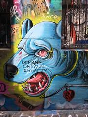 Angry Dog (BattysGambit) Tags: 2017 australia victoria melbourne cbd hosier lane street art graffitti streetart iphone iphone6 urban jungle dog angry