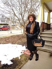 I Simply MUST Get Out-And-About (Laurette Victoria) Tags: skirt curly gloves purse jacket scarf laurette woman