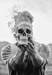 195/365 (lukerenoe) Tags: conceptual blackandwhite lukerenoe light 365 edit art skull dark mood mystery moody surreal surrealism smoke
