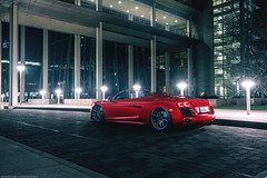 Audi R8 for Rohana Wheels (Richard.Le) Tags: richard le automotive commercial photography audi r8 spyder v8 rohana wheels commission downtown sacramento california light painting sony a7rii full frame westcott ice 2 flickr popular exotic transport transportation coupe satin red vinyl wrap lights dark moody