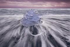 Nature's Sculpture (Alan Amati) Tags: amati alanamati ice iceland icelandic glacier glacial ocean sea beach blacksand tide water wave sculpture nature natural pattern shape landsape sbore surf