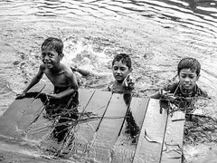 A challenge to swim (A. Yousuf Kurniawan) Tags: children trio blackandwhite monochrome villagelife streetphotography water splash play joy happy face expression swim swimming river riverlife