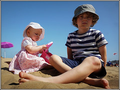 Kids on the beach. (Jason 87030) Tags: sand beach margate kent april 2017 jasmine clayton hats play sandcastles bucket spade sunny holiday uk england kids children son daughter nice weather sony shot photo ilce alpha composition