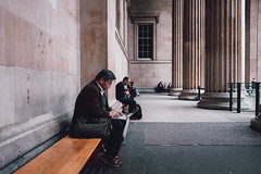 Working lunch at the British Museum (lsullivanart) Tags: fuji fujifilm fujix fujix70 england europe uk britain london architecture buildings city citylife streetphotography streetphotographer streets urban