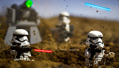 First Order Line of Defense (Lego_LUTs) Tags: green yellow storm trooper star wars war lego outdoors clone troopers first order blasters afol minifigs minifigures bricks blocks canon toy toys force legos t3i republic people photoadd atst death rogue one dirt practical effects