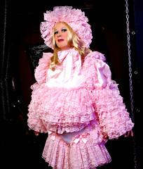 Why yes, I like cotton candy. (jensatin4242) Tags: sissy crossdresser transvestite jensatin frilly ruffles pinklace sissybonnet