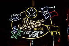 Shiner Beers (dangr.dave) Tags: fortworth tx texas cowtown tarrantcounty panthercity downtown historic architecture billybobs neon neonsign shiner beer cowboyhat longhorn cow flag bluebonnet