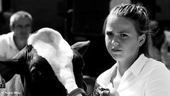 Girl and cow (patrick_milan) Tags: noiretblanc blackandwhite noir blanc monochrome nb bw black white street rue people personne gens streetview féminin femal femme woman women girl fille belle beautiful portrait face candide plouguin ploudalmezeau portsall kersaint landunvez landeda lannilis treglonou saintpabu pabu abers finistère brittany bretagne bzh saintrenan renan lanildut aberwrach lampaul plouarzel breles