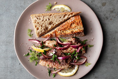 Saturday Lunch - Sardines w/ Sumac Onion Salad (caprilemon) Tags: sardine toast herb parsley dill tarragon lemon vinegar oil oliveoil onion redonion scallion sumac salt baguette pepper garlic food recipe market lunch dinner quick