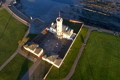 The Signal Tower from the air, Arbroath (iancowe) Tags: arbroath signal tower bell rock lighthouse scotland scottish harbour stevenson nlb northern board aerial drone dji phantom 4 pro evening sunset angus museum